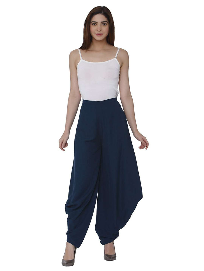 Front Side Blue Polyester Dhoti Set