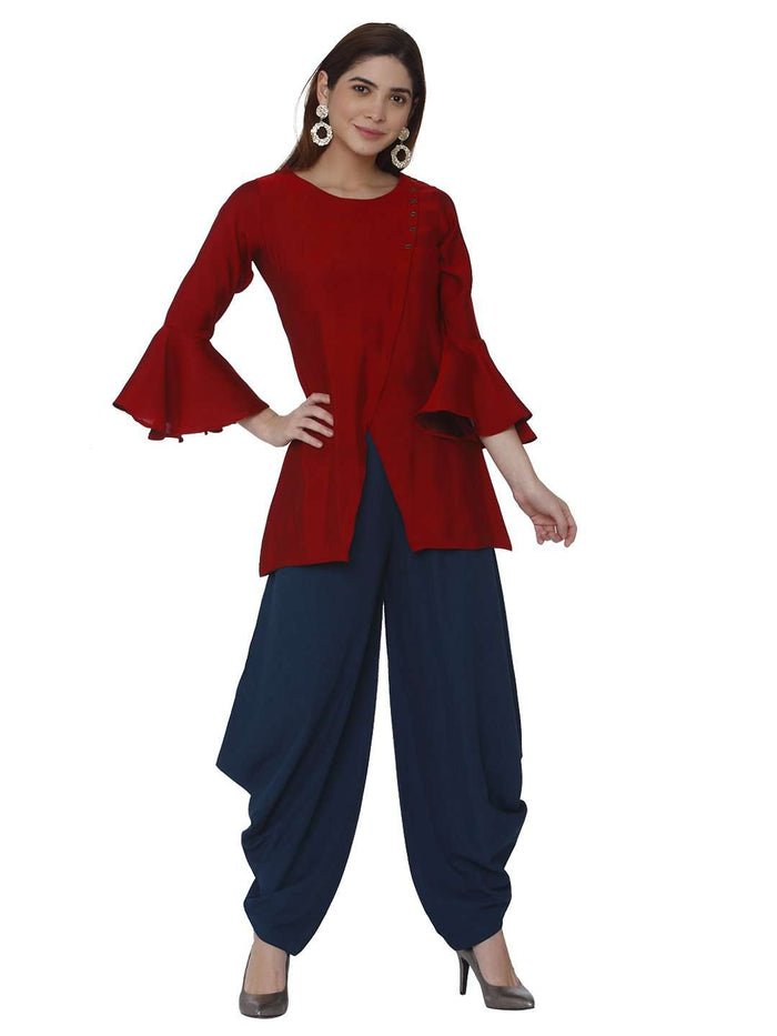 Casual Pashan Red & Blue Polyester Dhoti Set