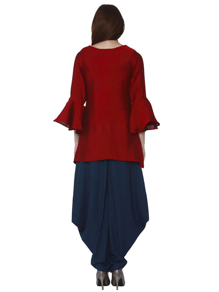 Back Side Pashan Red & Blue Polyester Dhoti Set