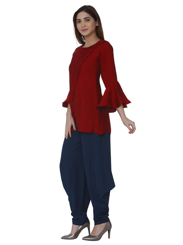 Left Side Pashan Red & Blue Polyester Dhoti Set