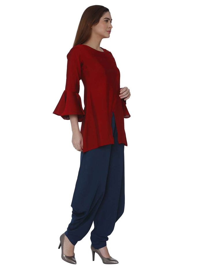 Right Side Pashan Red & Blue Polyester Dhoti Set
