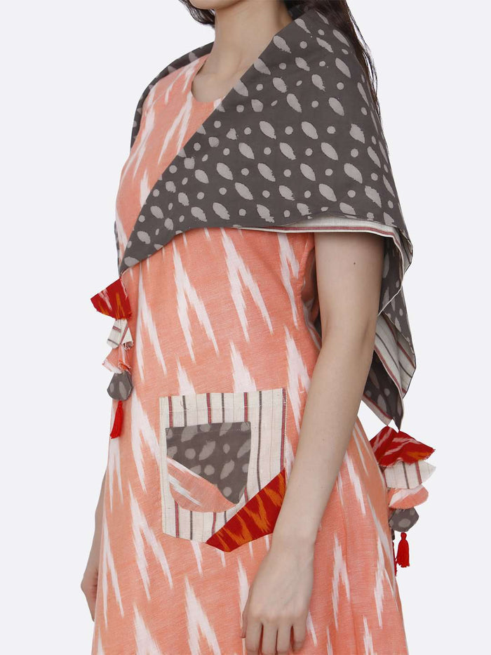 Left Side Printed Cotton Long Dress With Peach Color
