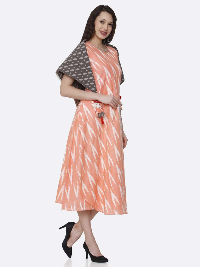 Right Side Peach Printed Cotton Long Dress