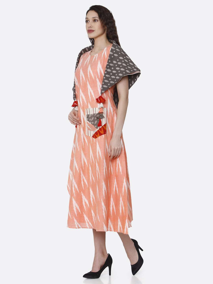 Left Side Peach Printed Cotton Long Dress