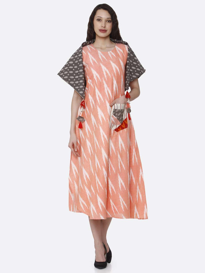 Front Side Printed Cotton Long Dress With Peach Color