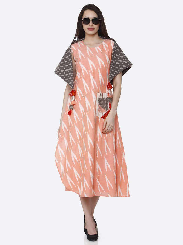 Party Wear Peach Printed Cotton Long Dress
