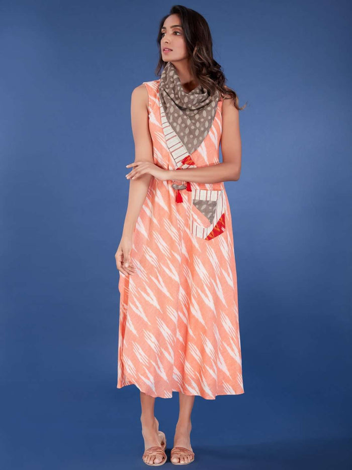 Front Side Peach Printed Cotton Long Dress