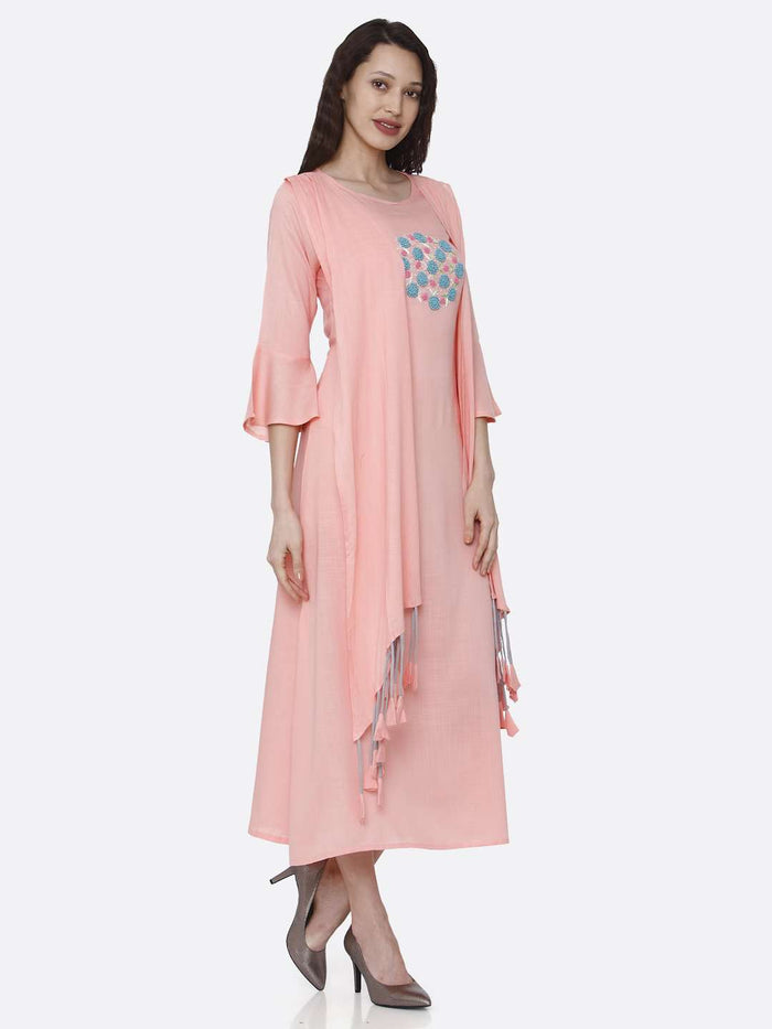 Right Side Embroidered Rayon Kurti With Pink Color