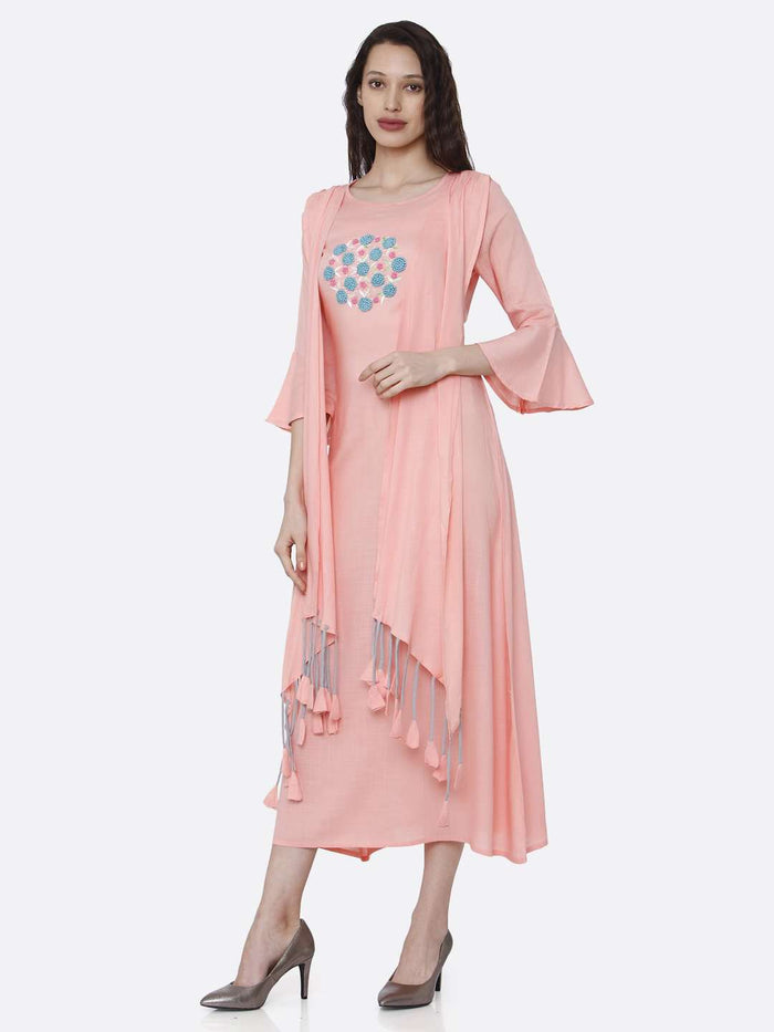 Left Side Embroidered Rayon Kurti With Pink Color