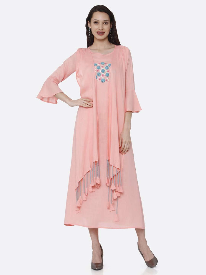 Full Front Side Casual Embroidered Rayon Kurti With ink Color