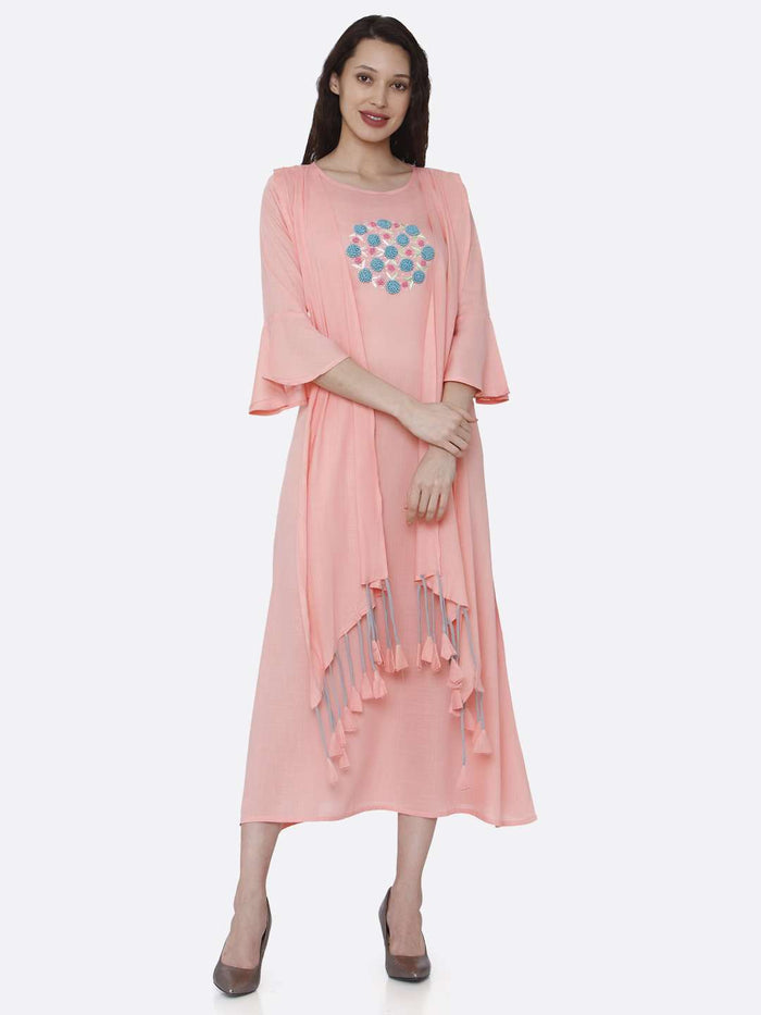Full Front Side Casual Pink Embroidered Rayon Kurti