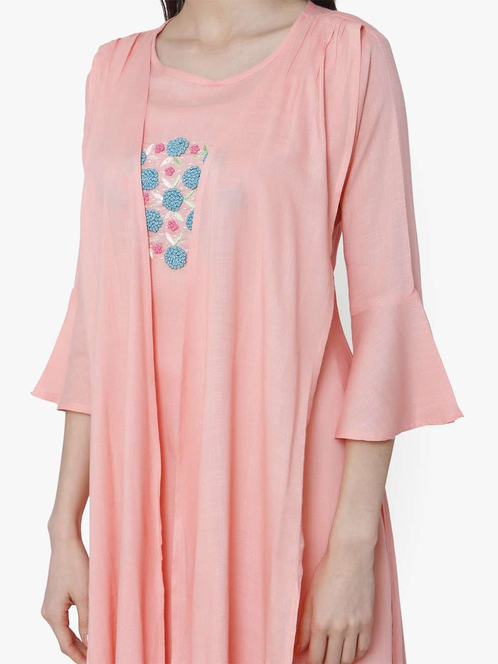 Front Side Pink Embroidered Rayon Kurti