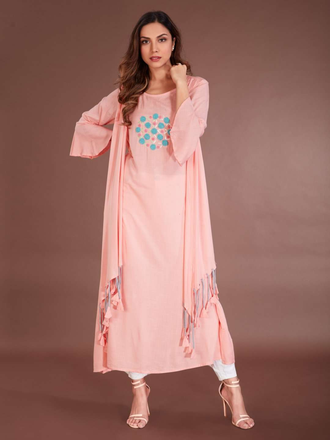 Front Side Embroidered Rayon Kurti With Pink Color