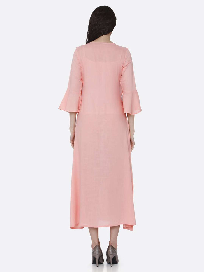 Back Side Embroidered Rayon Kurti With Pink Color