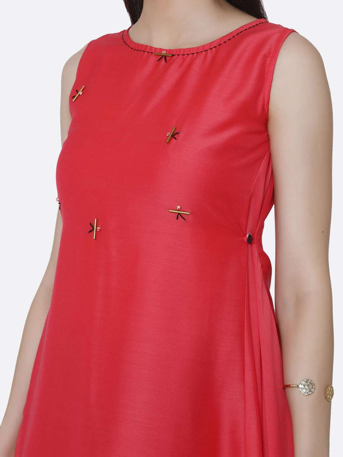 Front Side Plain Viscose Asymmetric Tunic With Pink Color