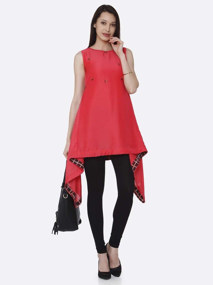 Full Front Side Casual Pink Plain Viscose Asymmetric Tunic With Black Palazzo