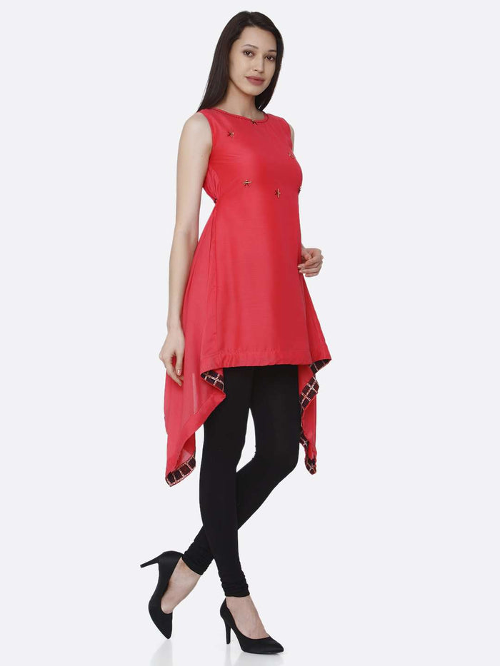 Right Side Pink Plain Viscose Asymmetric Tunic With Black Palazzo