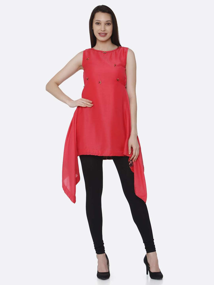 Full Front Pink Plain Viscose Asymmetric Tunic With Black Palazzo