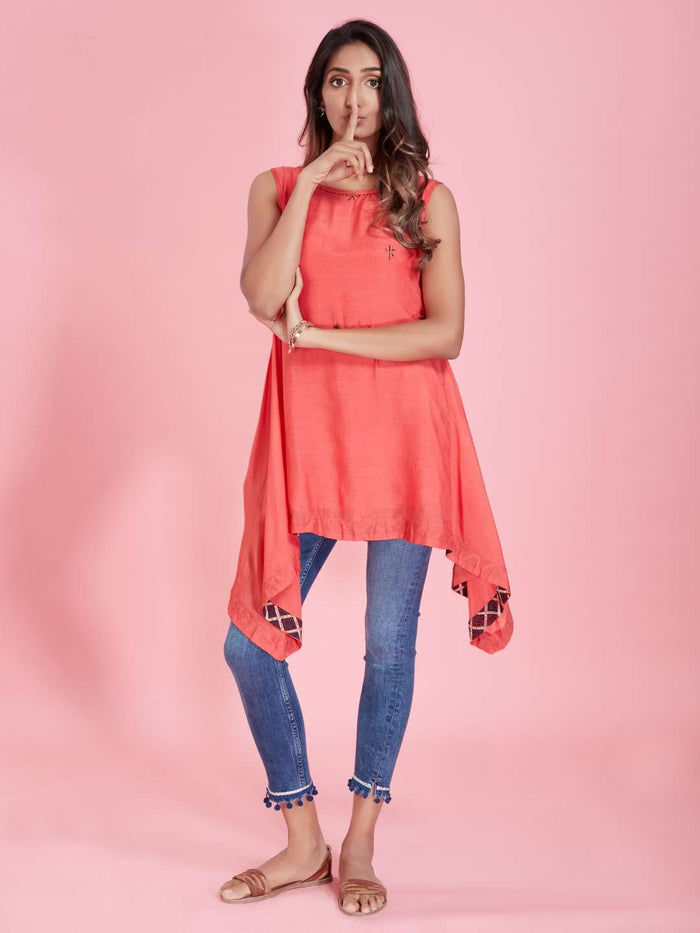 Full Front Pink Plain Viscose Asymmetric Tunic With Denim Blue Pant