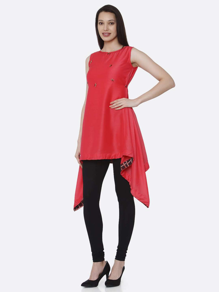 Left Side Pink Plain Viscose Asymmetric Tunic With Black Palazzo