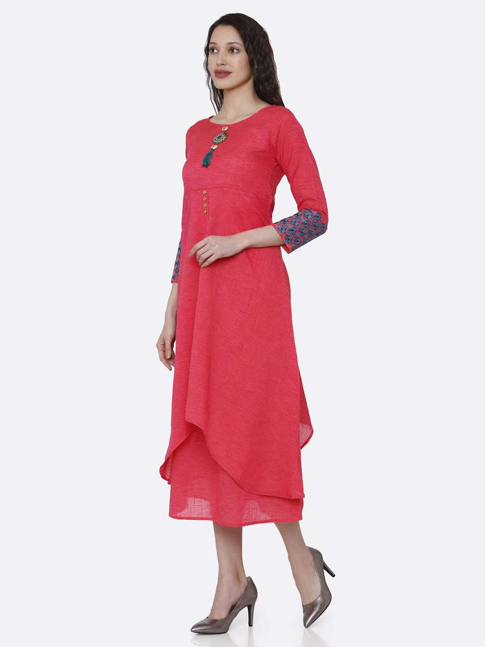 Left Side Rayon Plain Asymmetric Two-Layered Dress With Pink Color