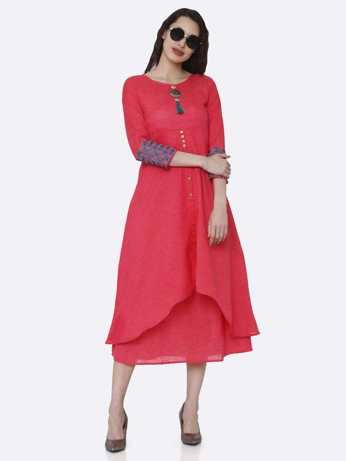 Casual Rayon Plain Asymmetric Two-Layered Dress With Pink Color