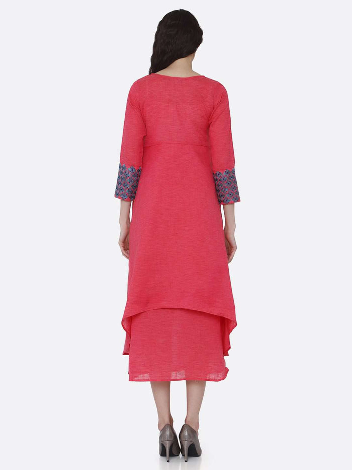 Back Side Rayon Plain Asymmetric Two-Layered Dress With Pink Color