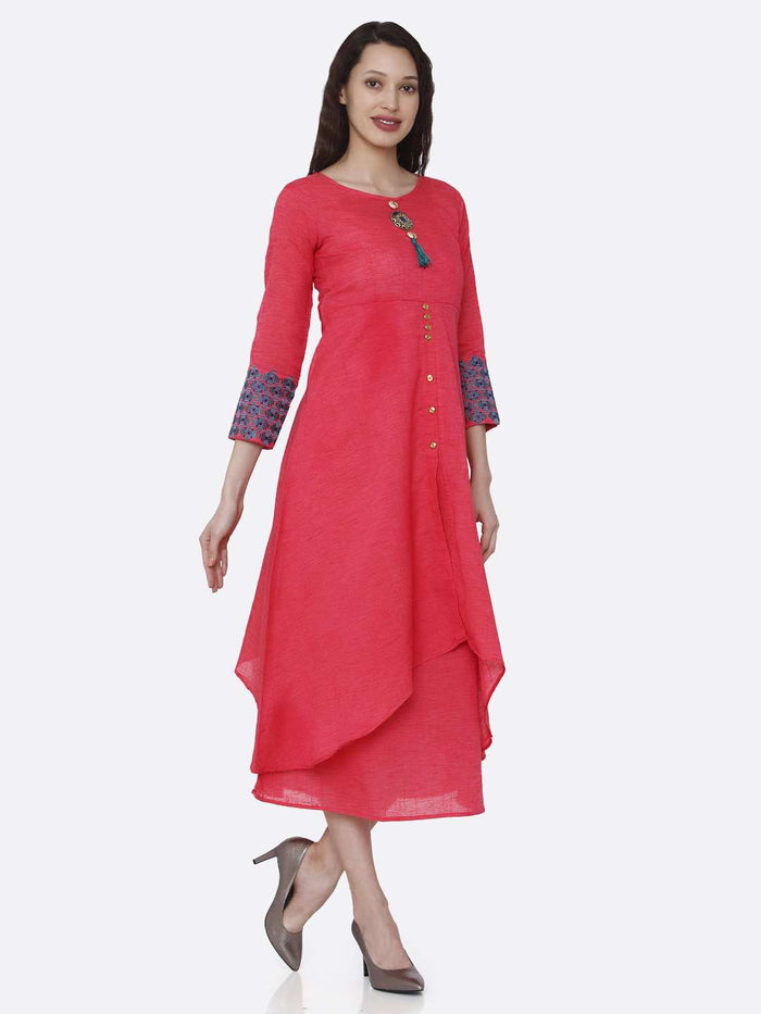 Right Side Rayon Plain Asymmetric Two-Layered Dress With Pink Color
