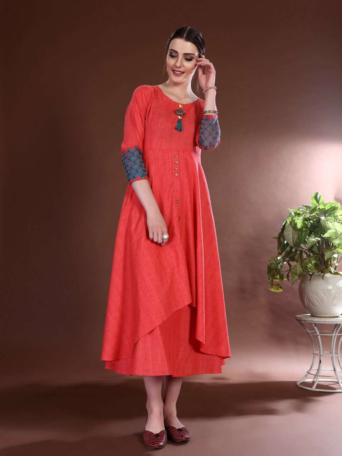 Front Side Rayon Plain Asymmetric Two-Layered Dress With Pink Color