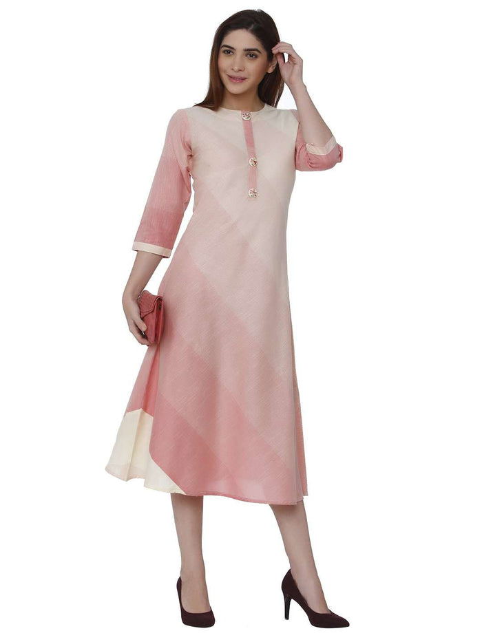 Front Side Casual Handloom Cotton Kurti With Pink & Cream Color