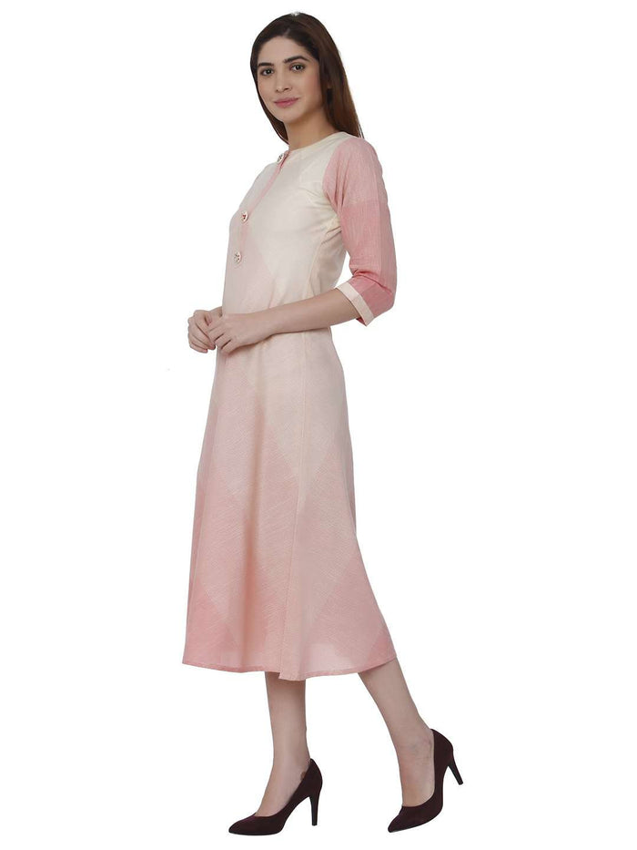 Left Side Handloom Cotton Kurti With Pink & Cream Color