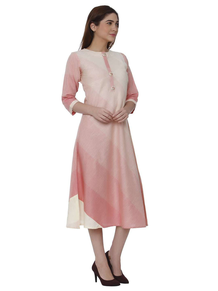 Right Side Handloom Cotton Kurti With Pink & Cream Color