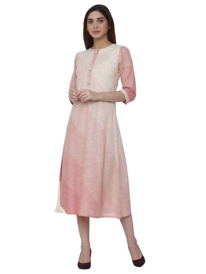 Front Side Hnadloom Cotton Kurti With Pink & Cream Color