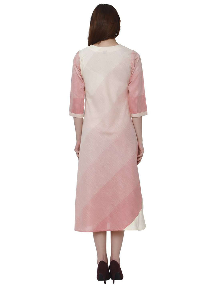 Back Side Handloom Cotton Kurti With Pink & Cream Color