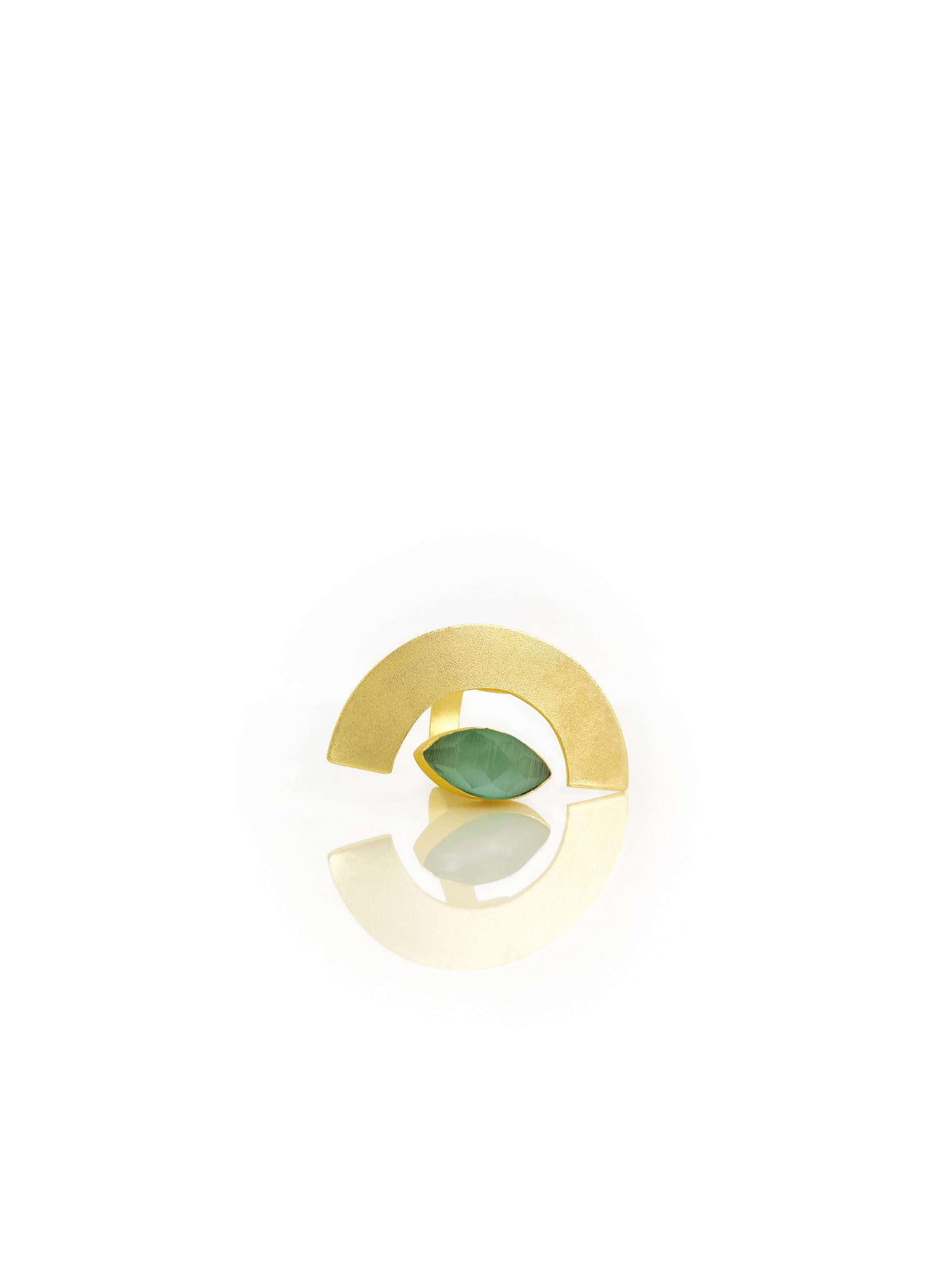 Gold Plated & Pista Green Stone Studded Contemporary Finger Ring