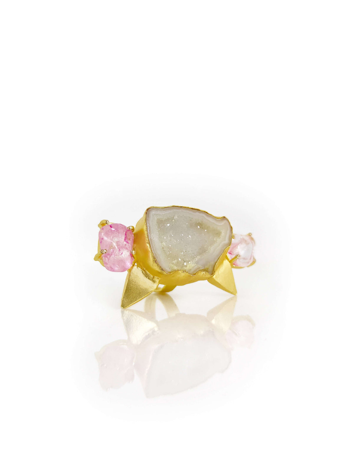 Color Stone Studden & Gold Plated Contemporary Finger Ring