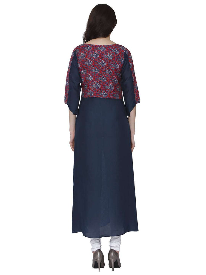 Back Side Ranjish Multicolored Muslin & Modal Kurti With White Palazzo Pant