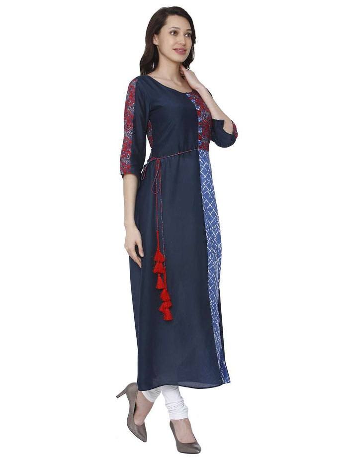 Right Side Ranjish Multicolored Muslin & Modal Kurti With White Palazzo Pant