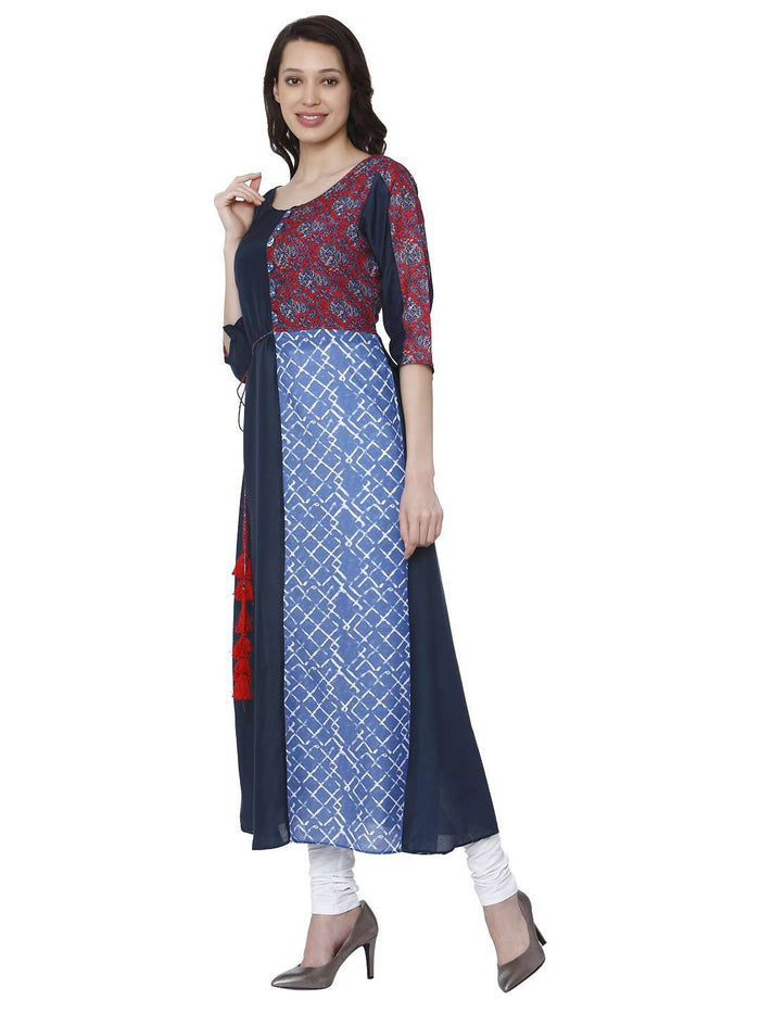Left Side Ranjish Multicolored Muslin & Modal Kurti With White Palazzo Pant