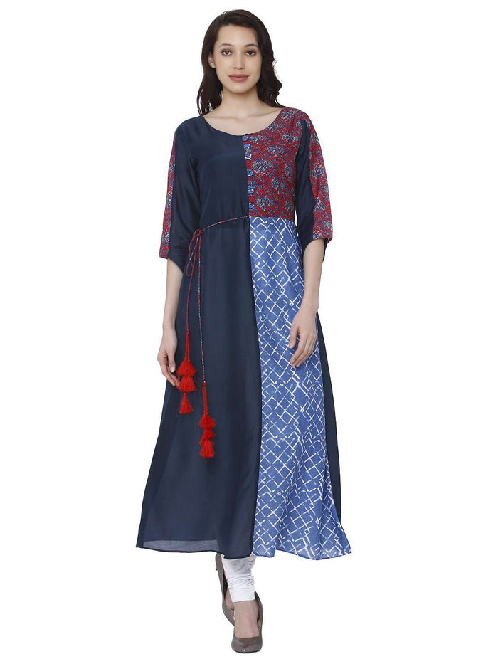 Front Side Ranjish Multicolored Muslin & Modal Kurti With White Palazzo Pant