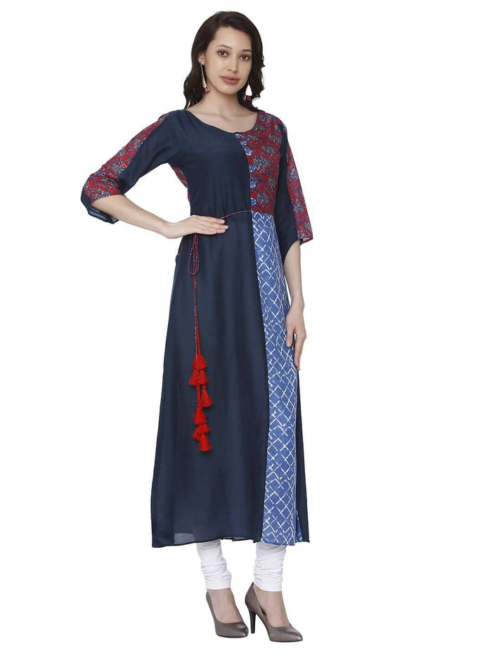 Casual Ranjish Multicolored Muslin & Modal Kurti
