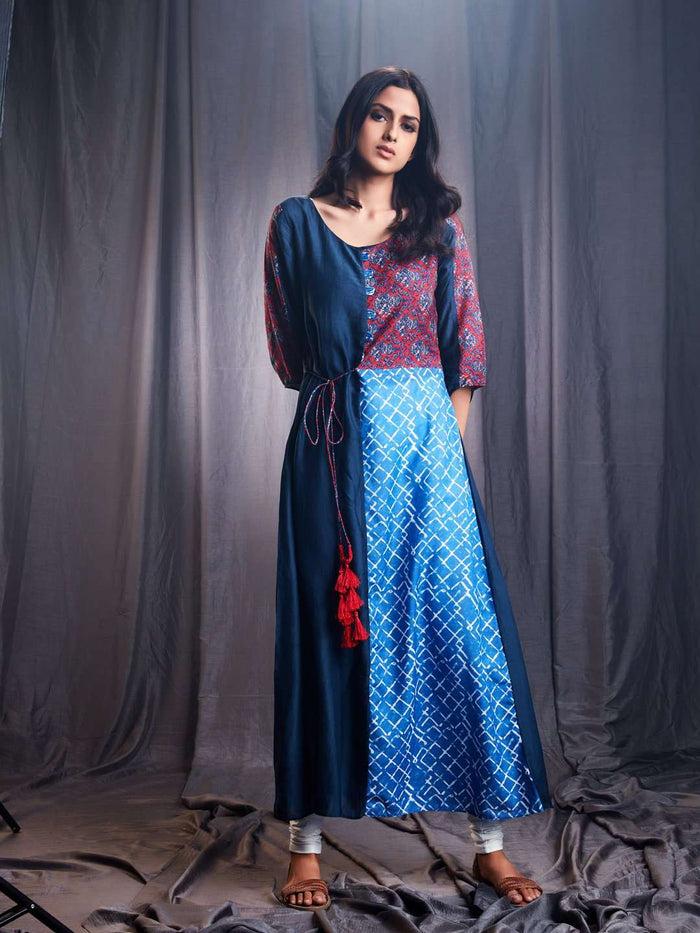 Front Side Muslin & Modal Kurti With Ranjish Multicoloured
