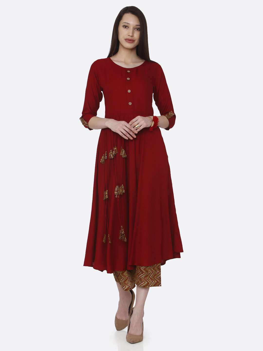 Front Side Plain Long Kurti  Dyed Flex Palazzo Set With Red Color
