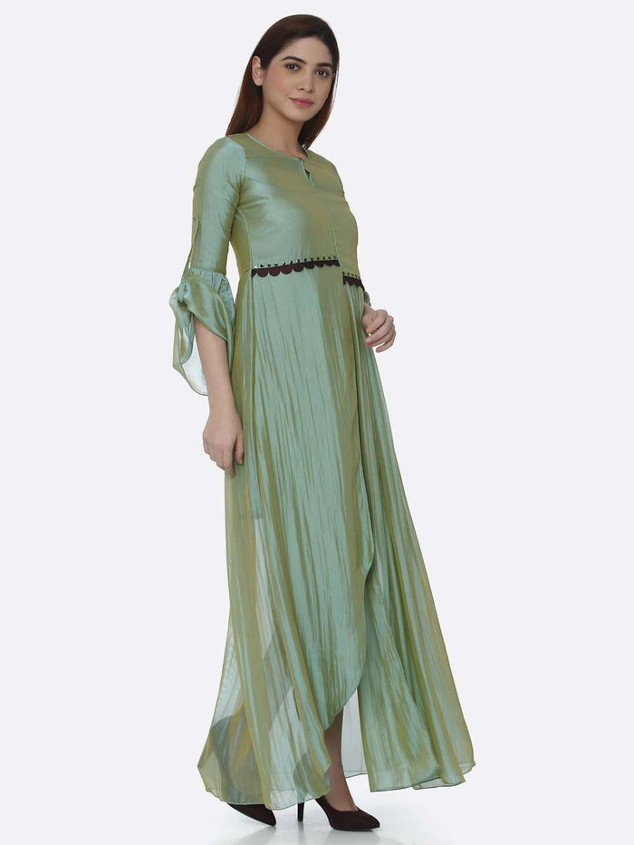 Right Side Sea Green Ombre Chanderi Front Open Dress