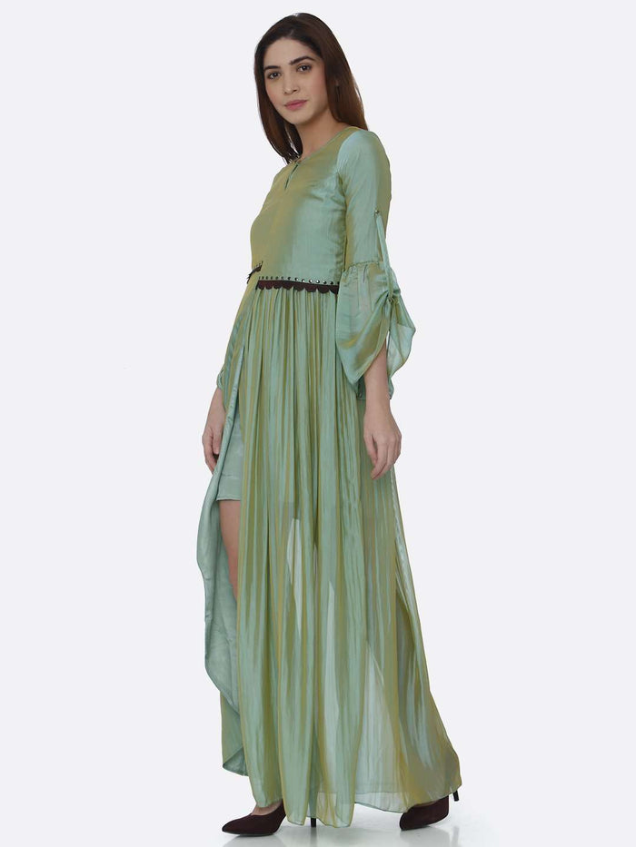 Left Side Ombre Chanderi Front Open Dress With Sea Green Color
