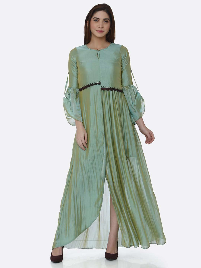 Front Side Ombre Chanderi Front Open Dress With Sea Green Color