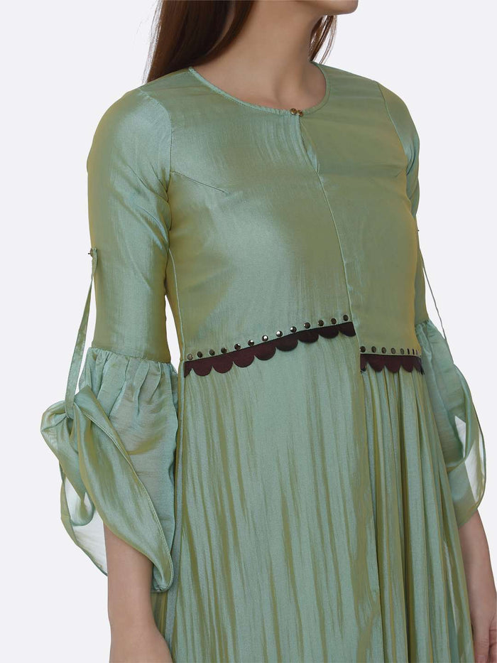 Right Top Side Sea Green Ombre Chanderi Front Open Dress