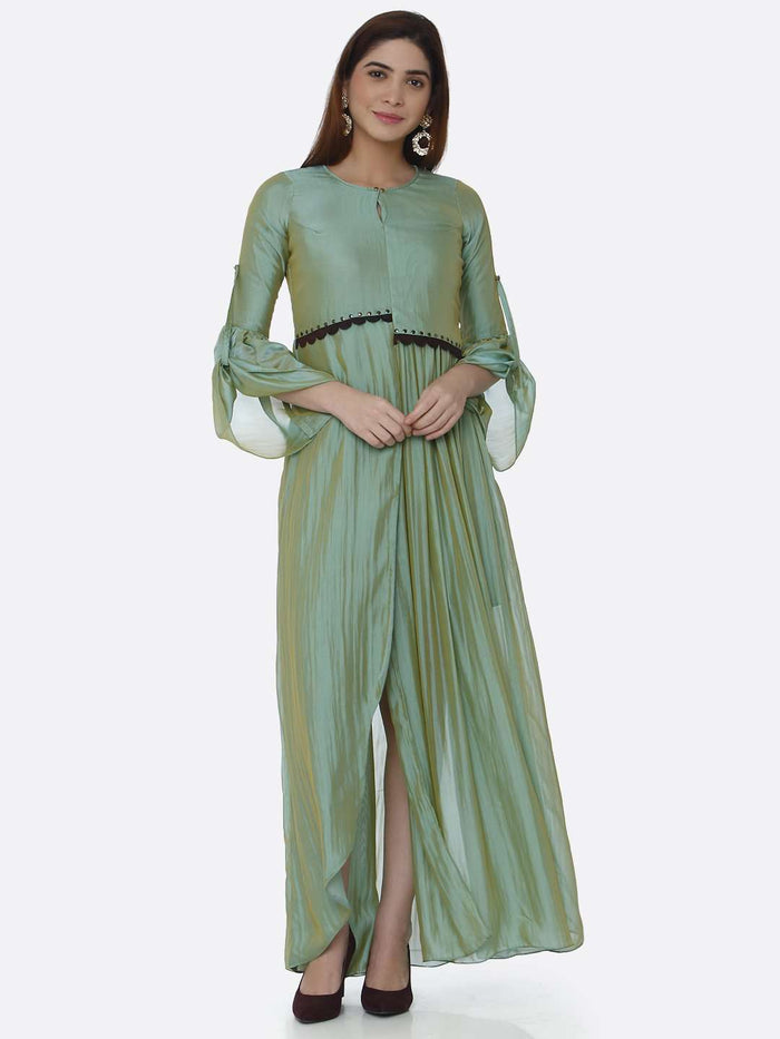 Front Side Sea Green Ombre Chanderi Front Open Dress
