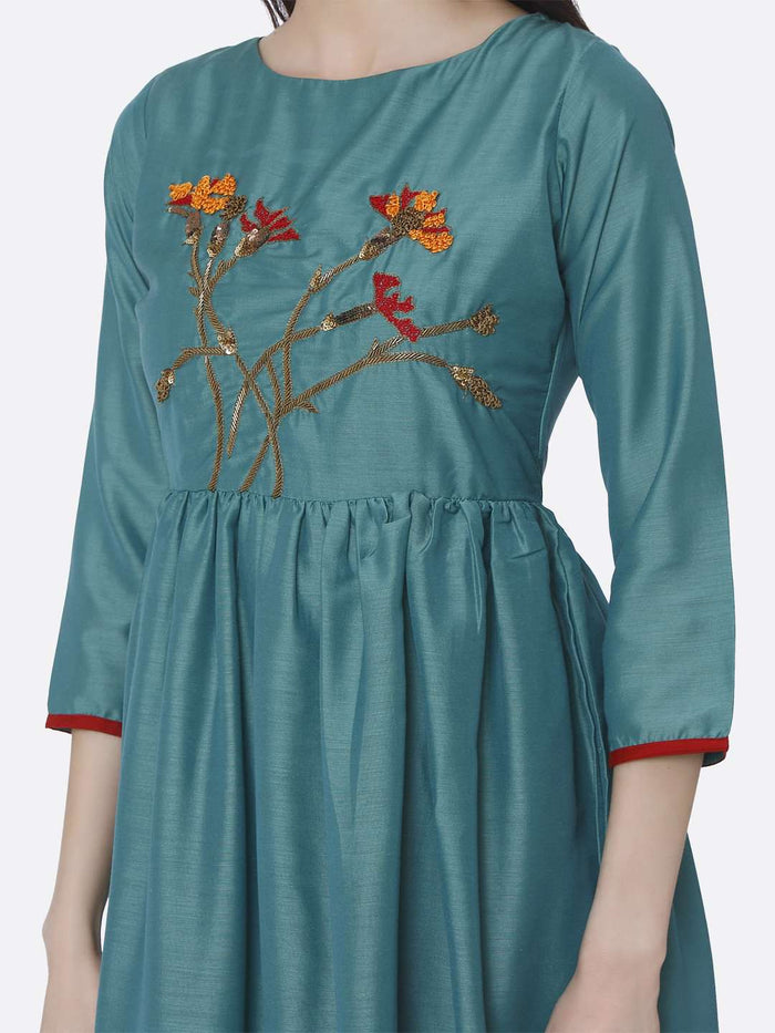 Front Side Turquoise Embroidered Viscose Plain Long Kurti