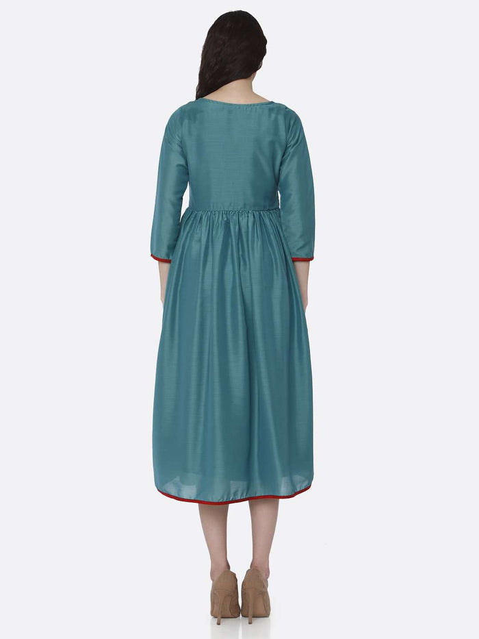 Back Side Embroidered Viscose Plain Long Kurti With Turquoise Color